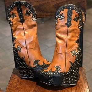 JEFFREY CAMPBELL Giddy Studded Brown Cowboy Boots